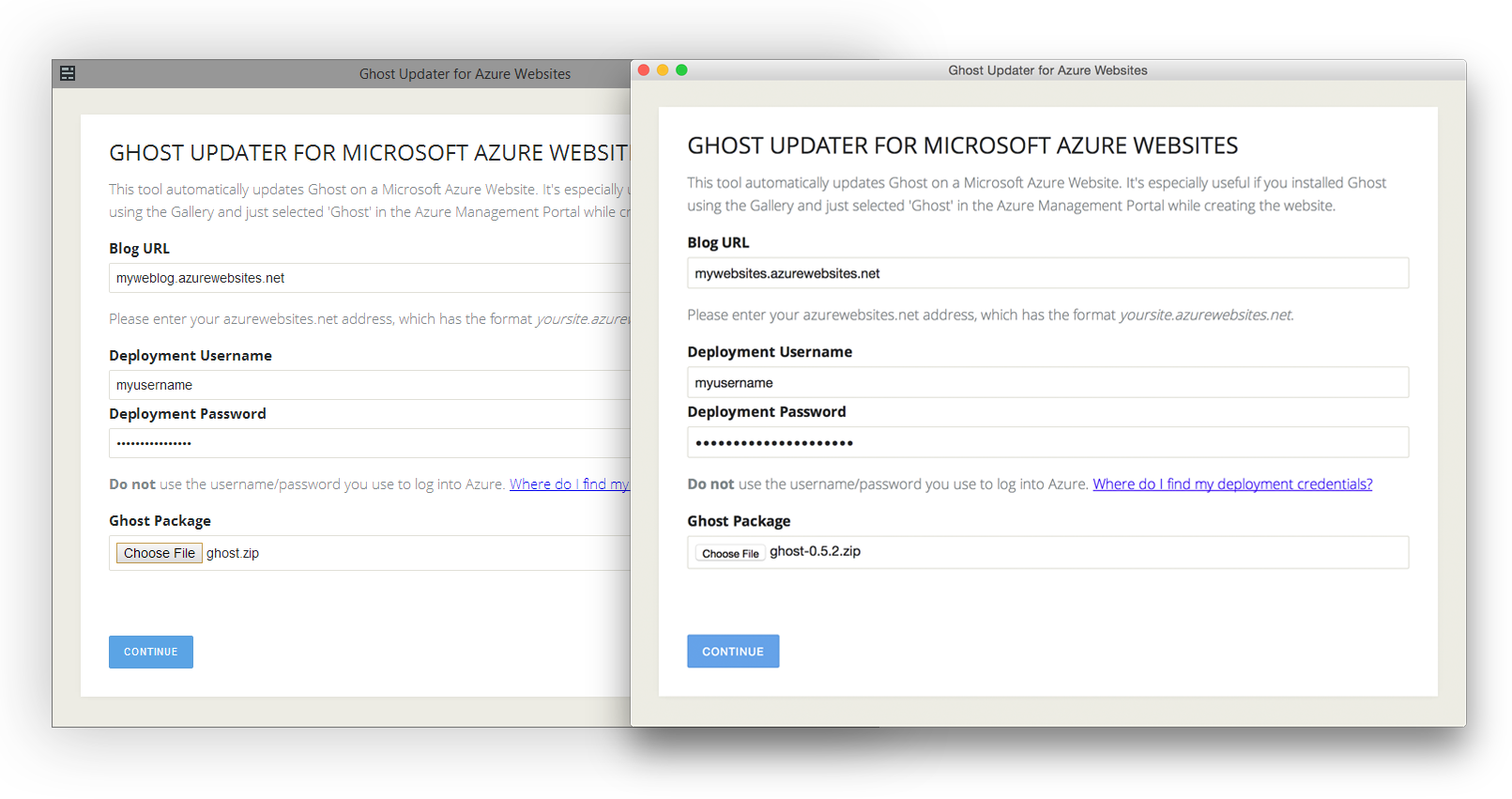 Ghost Updater for Azure